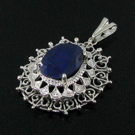 APP: 4k 12.28CT Blue Sapphire & Sterling Silver Pendant