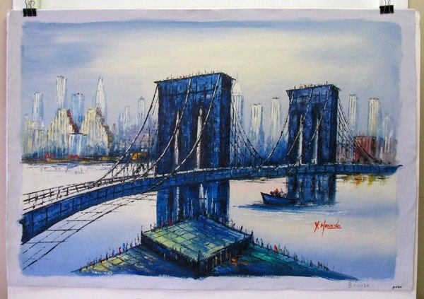 Oil Painting On Canvas ( The Bridge Over  The City)