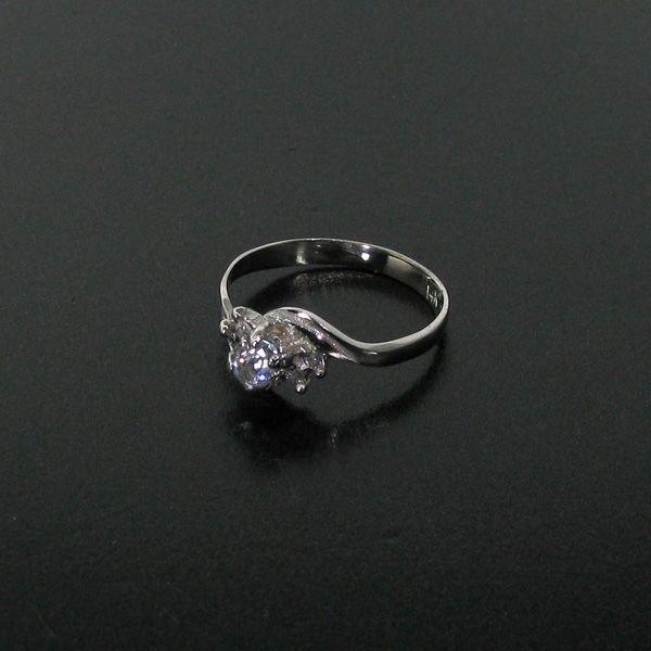 14 kt. White Gold, 0.21 Aquamarine & Diamond Ring