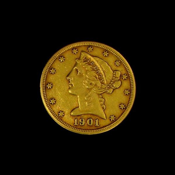 1901 U.S. Gold Liberty Coronet $5 Coin - Investment