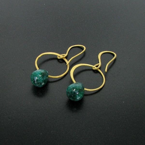 APP: 10k 24kt Gold 16CT Emerald & Sterl Silver Earrings