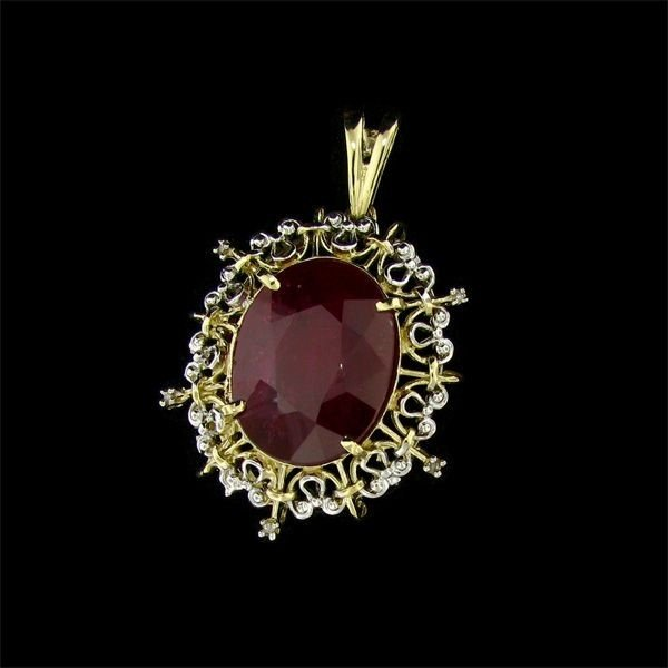 APP: 45.2k 14 kt. Gold, 36.31CT Ruby & Diamond Pendant