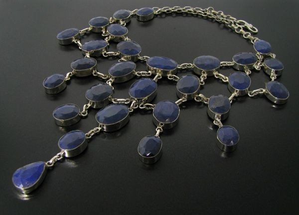 APP: 116k 362CT Sapphire & Sterling Silver Necklace