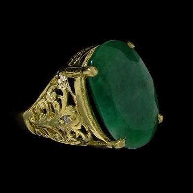 APP: 18.6k 8.36CT 14 kt. Gold, Emerald & Diamond Ring