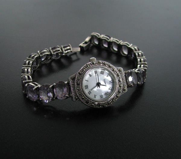 Amethyst & Sterling Silver Watch