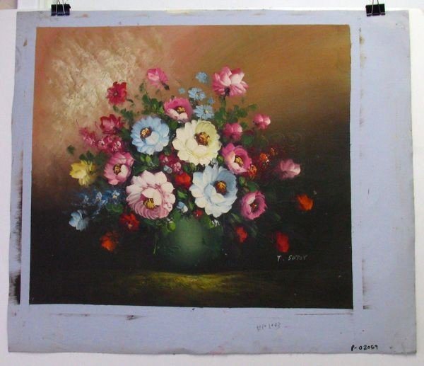 Oil Painting (Pink & Blue Flowers On Green Pot)