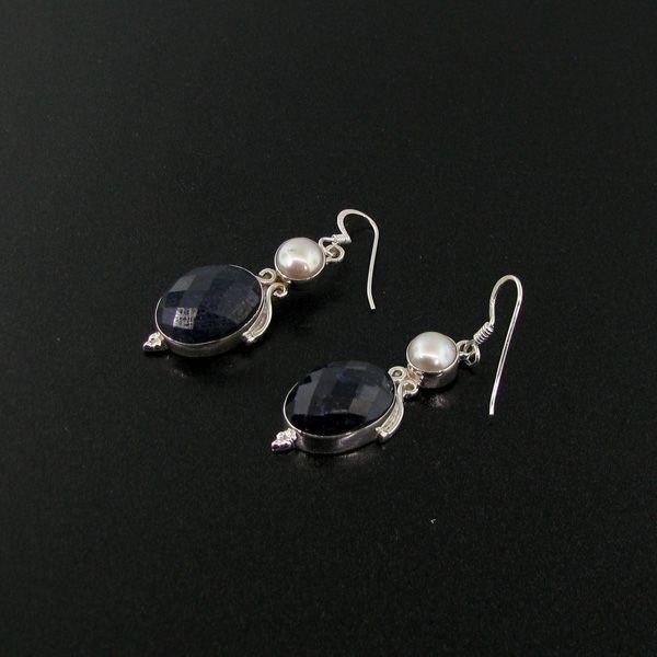 APP: 9k 20CT Sapphire w/Pearls & Sterl Silver Earrings