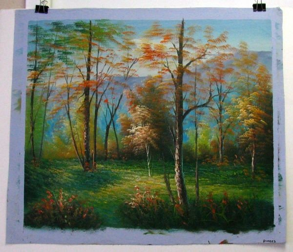 Oil Painting (Flowers On The Forest) 23.5 X 27