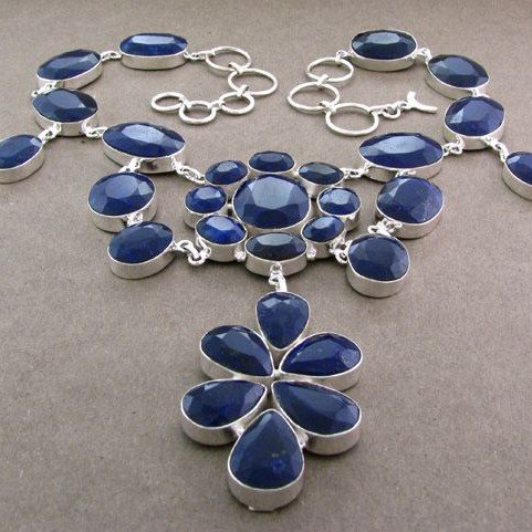 APP: 50k 292CT Blue Sapphire & Sterling Silver Necklace