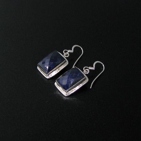 APP: 8k 17CT Blue Sapphire & Sterling Silver Earrings