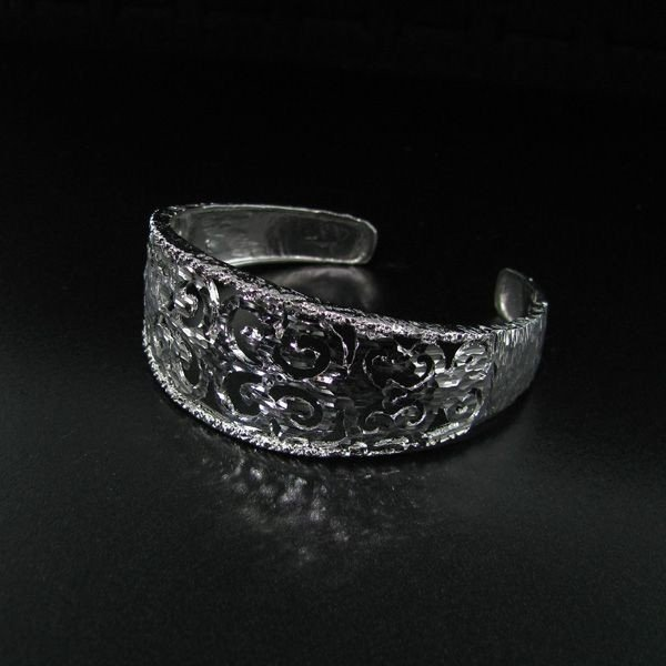 APP: 2.1k Platinum Plated, Over Silver Bangle
