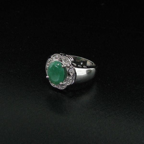 APP: 3k 1CT Emerald & Diamond Plat Sterling Silver Ring