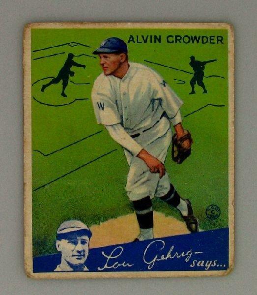 Alvin Crowder #15 BP $20-$120 Goudey Baseball Card