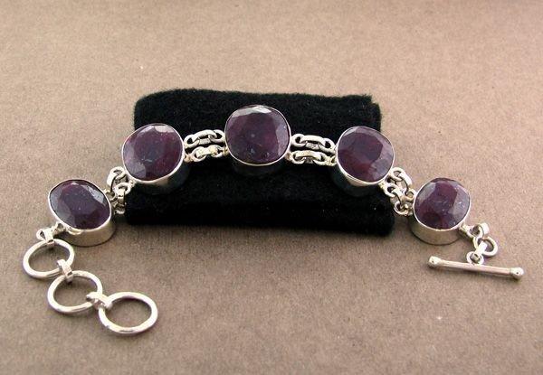 APP: 13.3k 56.05CT Ruby & Sterling Silver Bracelet