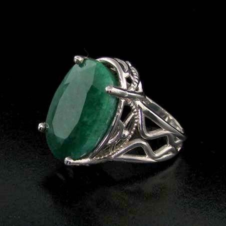 APP: 12.9k 17.38CT Emerald & Sterling Silver Ring