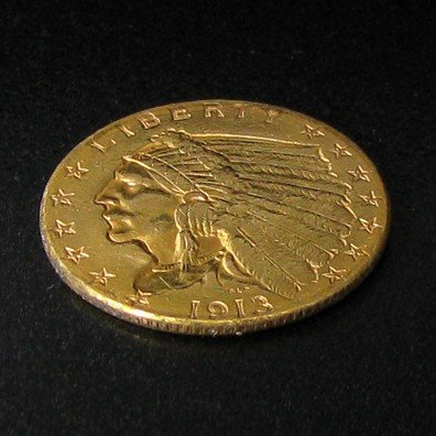1913 $2.5 U.S Indian Head Gold Coin - Investment