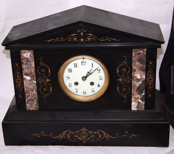 Antique American Slate and Marble Clock- Sold As Is