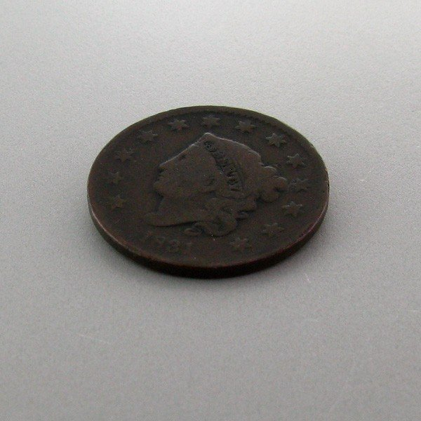 1831 Busted Liberty One Cent Coin - Investment