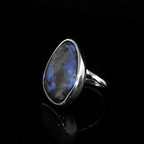 APP: 13.6k 19.80CT Boulder Opal & Sterling Silver Ring