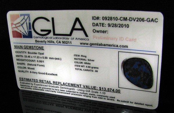 APP: 13.6k 19.80CT Boulder Opal & Sterling Silver Ring - 2