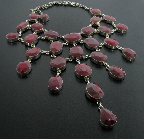 APP: 87.9k 458.41CT Ruby & Sterling Silver Necklace