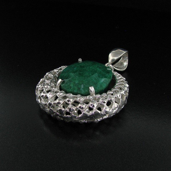 APP: 25k 77CT Green Emerald & Sterling Silver Pendant