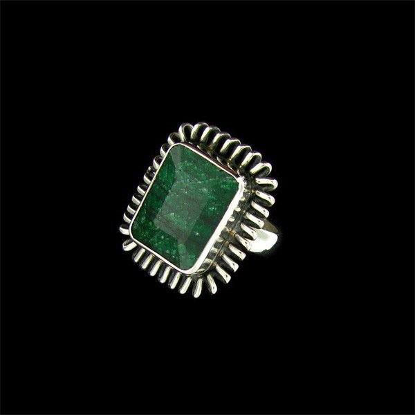APP: 8k 9.21CT Emerald & Sterling Silver Ring