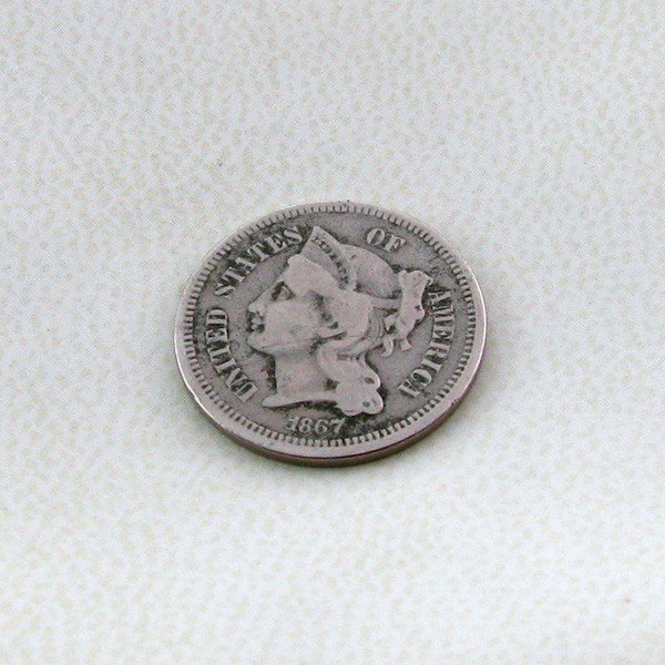 1867 U.S. Liberty Head 3 Cents  Coin - Investment