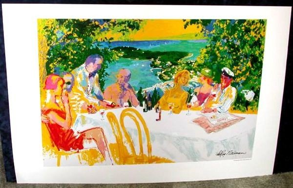 Hand Signed LeRoy Neiman: Wine Alfresco