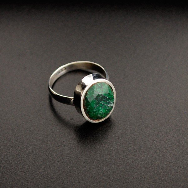 APP: 1.2k 7.37CT Green Sapphire & Sterling Silver Ring