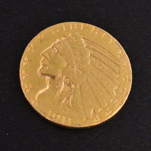 1911-S $5 U.S Indian Head Gold Coin - Investment