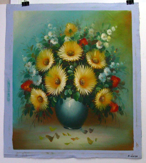 Oil Painting (Yellow Flowers On Blue Pot) 23.5 X 27