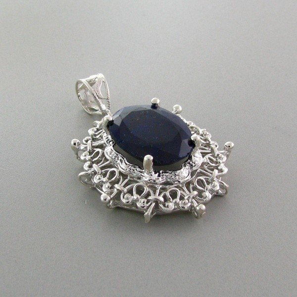 APP: 4k 16.65CT Blue Sapphire & Sterling Silver Pendant