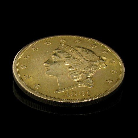 1861 $ 20 U.S. Liberty Head Gold  Coin - Investment