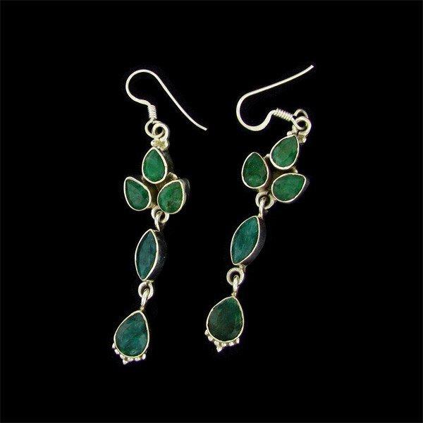 APP: 8.7k 9.76CT Emerald & Sterling Silver Earrings