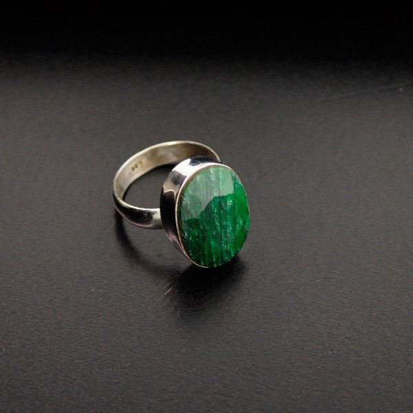 APP: 1.9k 12.26CT Green Sapphire & Sterling Silver Ring