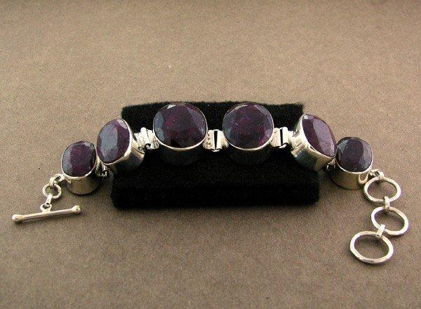 APP: 23k 99.06CT Ruby & Sterling Silver Bracelet