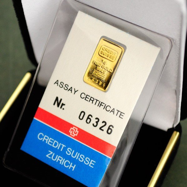 1 gram Gold Credit Suisse Metal Plate Coin - Investment