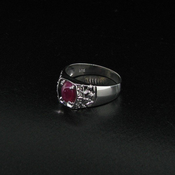 APP: 3k 1CT Ruby on Platinum Sterling Silver Ring