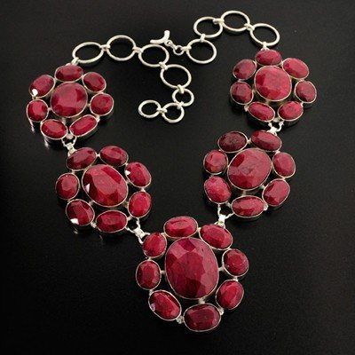 APP: 62k 441.53CT Ruby & Sterling Silver Necklace
