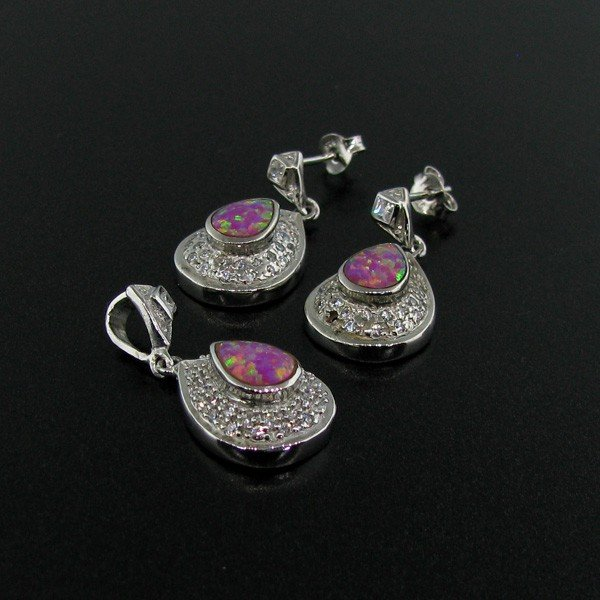 Sterl Silver Pink Opal Earrings & Pendant Set Earrings