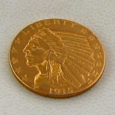 1915 $5 U.S. Indian Head  Gold  Coin - Investment