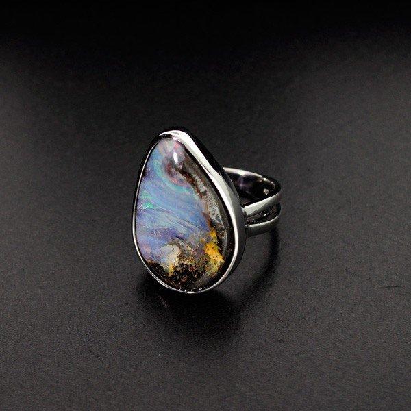 APP: 13.3k 22.14CT Boulder Opal & Sterling Silver Ring