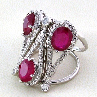 APP: 12k 6CT Ruby & Colorless Topaz Sterl Silver Ring