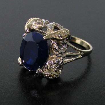 APP: 6k 14kt Yellow & White, Gold, 7CT Sapphire Ring