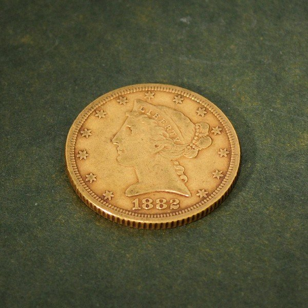 19: 1882 U.S. $5 Liberty Head Gold Coin - Investment
