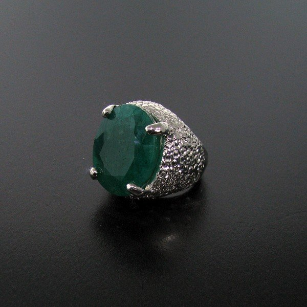 25: APP: 11.7k 16.65CT Emerald & Sterling Silver Ring