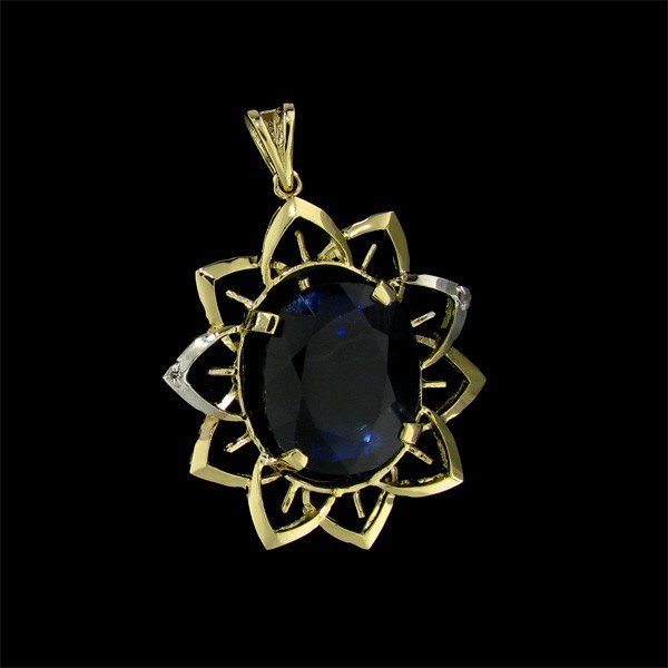 29: APP: 32k 29.10CT 14kt Gold, Sapphire & Diamond Pend