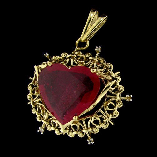 367: APP: 26.4k 14 kt. Gold, 15.83CT Ruby & Diamond Pen