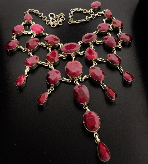 APP: 74.8k 383.46CT Ruby & Sterling Silver Necklace